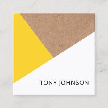 modern printed kraft yellow white geometric square business card