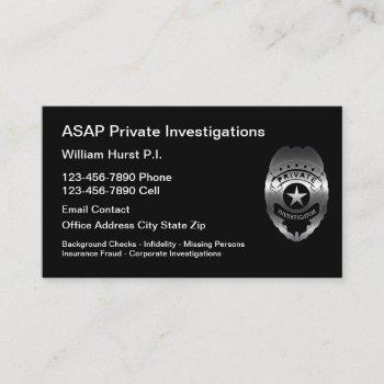 modern private investigator theme business card