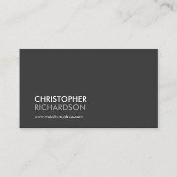 modern professional dark gray business card