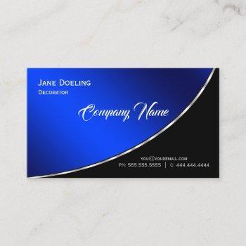 modern professional elegant bright blue business card