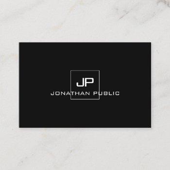modern professional monogram black white elegant business card