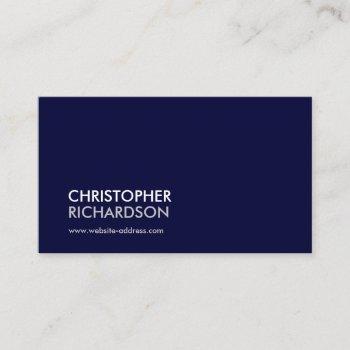 modern professional navy blue business card