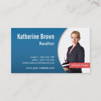 modern professional realtor real estate blue photo business card