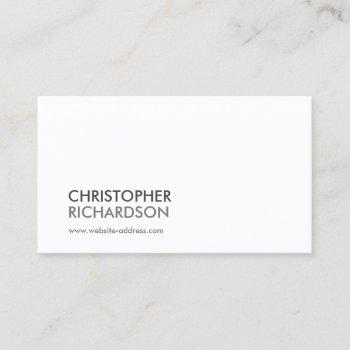 modern professional white business card