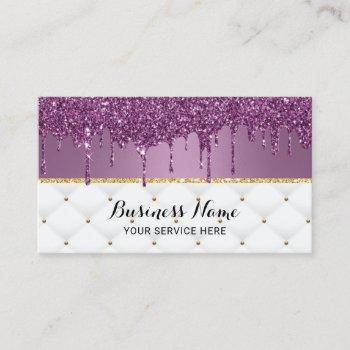 modern purple glitter drips luxury beauty salon business card