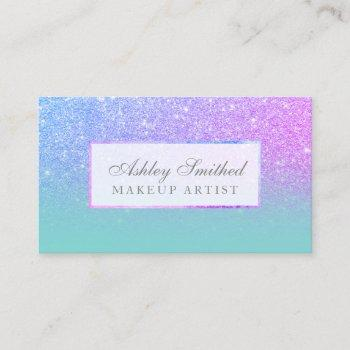 modern purple glitter teal ombre makeup business card