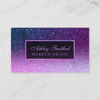 modern purple ombre blue glitter chic ombre makeup business card
