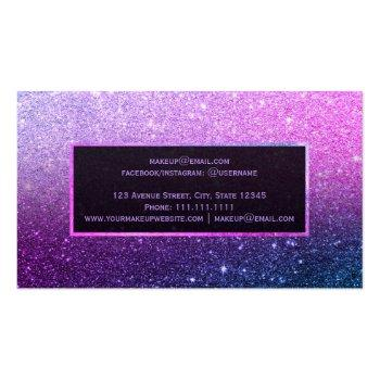 Small Modern Purple Ombre Blue Glitter Chic Ombre Makeup Business Card Back View