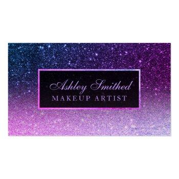 Small Modern Purple Ombre Blue Glitter Chic Ombre Makeup Business Card Front View