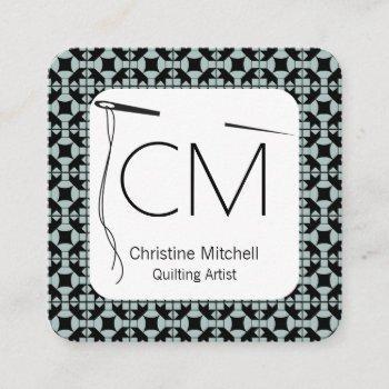 modern quilt artisan square business card