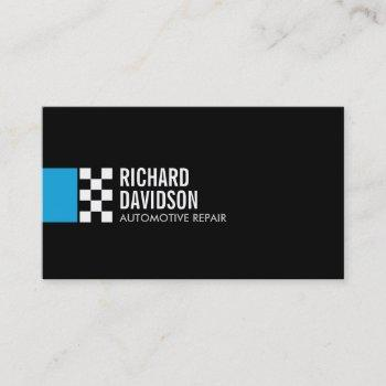 modern racing flag logo in blue automotive business card