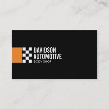modern racing flag logo in orange automotive business card