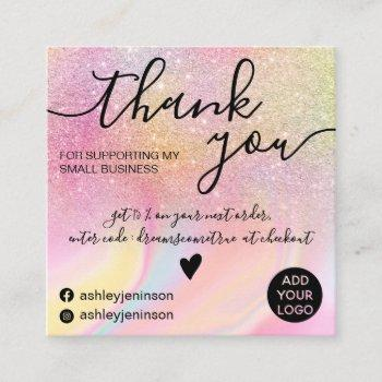 modern rainbow glitter marble chic thank you square business card