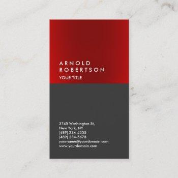 modern red gray cool professional business card