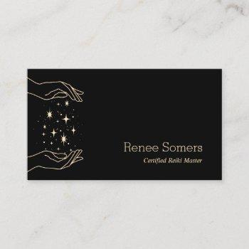 modern reiki master energy massage business card