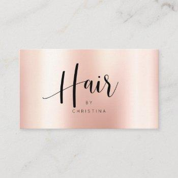 modern rose gold elegant metallic hair script business card