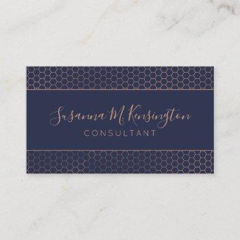 modern rose gold foil navy blue geometric business card