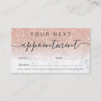 modern rose gold glitter marble ombre professional appointment card