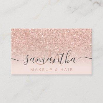 modern rose gold glitter ombre blush makeup hair 2 business card