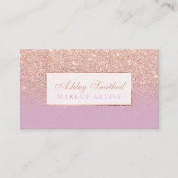 modern rose gold glitter pink lavender chic makeup business card