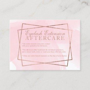 modern rose gold script pink eyelash aftercare business card