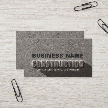 modern rustic concrete rock text construction business card