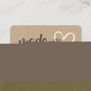 modern rustic made with love heart kraft paper business card