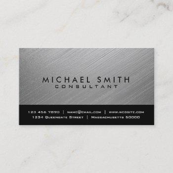 modern silver brushed metal business card template