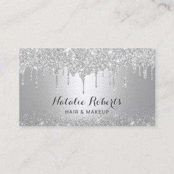 modern silver drips makeup artist hair salon business card