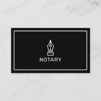 modern simple black notary loan signing agent business card