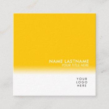 modern simple unique your logo bright yellow white square business card
