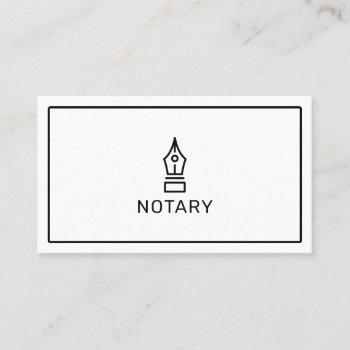 modern simple white notary loan signing agent business card
