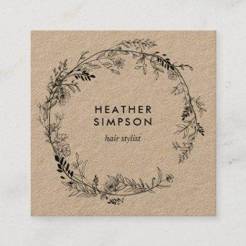 modern sketch flowers kraft square business card
