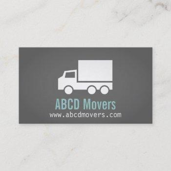 modern, sleek, chic, mover company, white truck business card