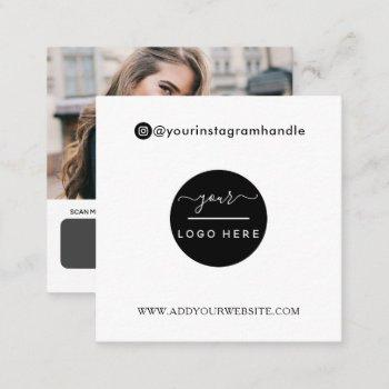 modern social media add your logo photo qr code  s square business card
