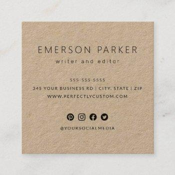 modern social media icons custom logo kraft paper square business card
