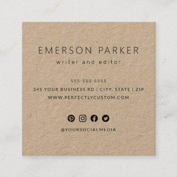 modern social media icons custom logo kraft paper square business card