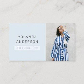 modern soft blue fashion stylist actor model photo business card