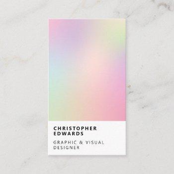 modern soft holographic gradient white minimalist business card