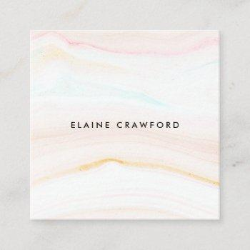 modern soft pastel blush pink marble agate pattern square business card