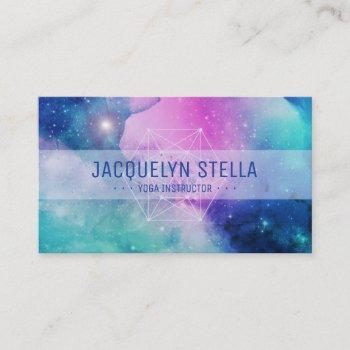 modern space nebula sacred geometry | yoga business card