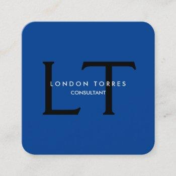 modern square monogram trendy blue black square business card
