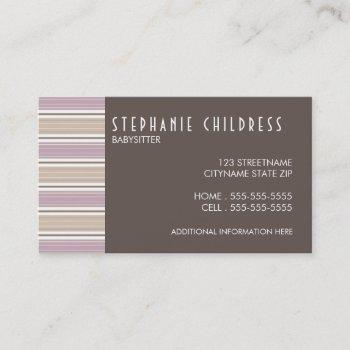 modern stripes babysitting business card in plum