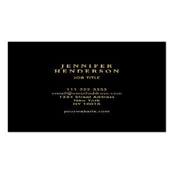 Small Modern Stylish Black And Gold Professional Square Business Card Back View