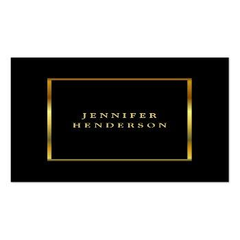 Small Modern Stylish Black And Gold Professional Square Business Card Front View
