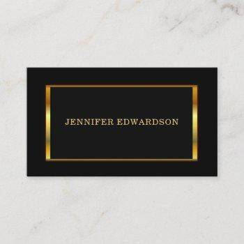 modern stylish gold frame on black professional business card
