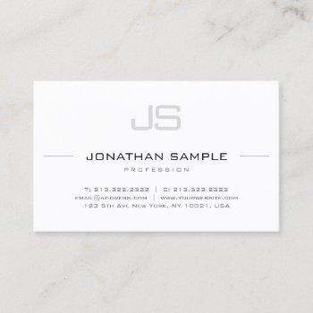 modern stylish monogram professional sleek plain business card