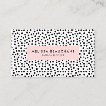 modern stylish pink & black dots | custom color business card