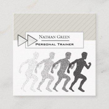 modern stylish running personal trainer square business card