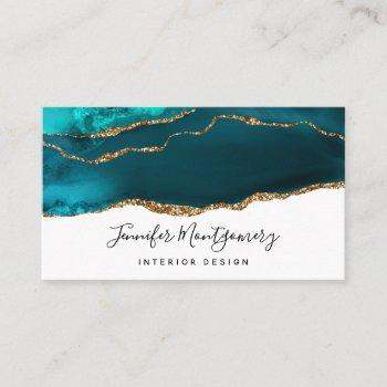 modern stylish teal & gold agate on white business card